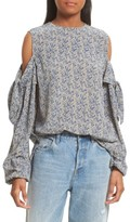 Robert Rodriguez Women's Floral Print Cold Shoulder Silk Top