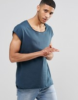 Asos Oversized Sleeveless T-Shirt With Raw Scoop Neck In Blue