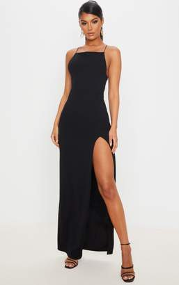 PrettyLittleThing Black Straight Neck Cross Back Maxi Dress
