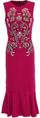 Dolce & Gabbana Fluted Embellished Crepe Midi Dress
