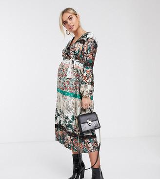Mama Licious Mamalicious Maternity satin midi dress in mixed paisley print