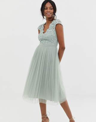 Little Mistress capped sleeve midi dress with pleated skirt