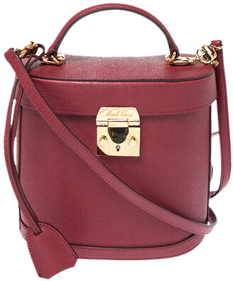 Mark Cross Red Leather Benchley Top Handle Bag