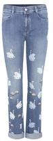 Stella McCartney Swan Embroidered Skinny Boyfriend Jeans