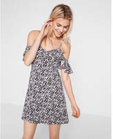 Express floral print ruffle cold shoulder fit and flare dress
