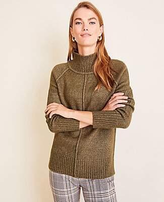 Ann Taylor Seamed Turtleneck Tunic Sweater