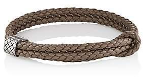 Bottega Veneta Men's Sterling Silver & Intrecciato Leather Bracelet-Gray