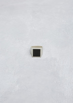 Maison Margiela silver / black square enamel ring
