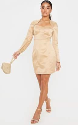 PrettyLittleThing Petite Black Satin Cup Detail Long Sleeve Mini Dress