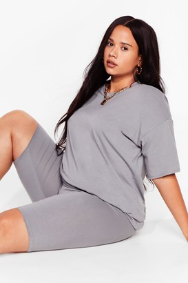 Nasty Gal Womens Win 'Em Oversized Plus Tee and Biker Shorts Set - Grey