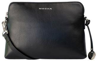 Mocha Classic Leather Crossbody Bag - Black