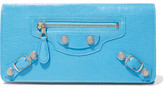 Balenciaga Arena Studded Textured-leather Wallet - Light blue