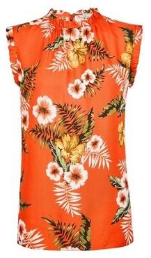 Dorothy Perkins Womens **Billie & Blossom Tall Orange Tropical Print Ruffle Shell Top, Orange