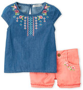 Lucky Brand Toddler Girls) Two-Piece Embroidered Chambray Set