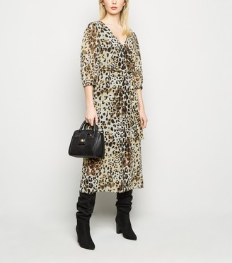 New Look Leopard Print Chiffon Tie Waist Midi Dress
