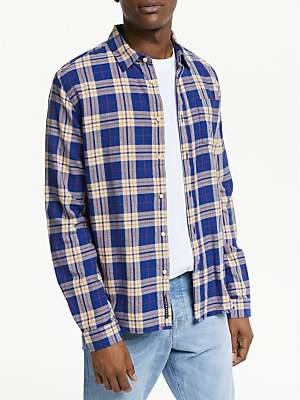 Scotch & Soda Brushed Flannel Check Shirt, Blue