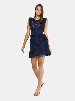 MISA Kayla Eyelet Ruffled Mini Dress