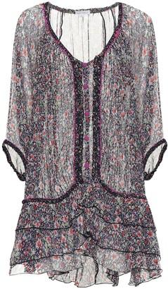 Poupette St Barth Bety floral silk poncho minidress
