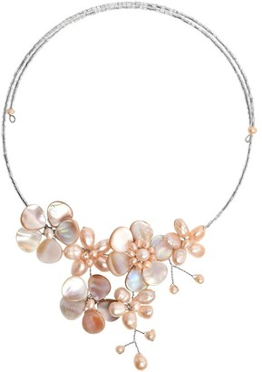 Aeravida Handmade Garden of the Ocean Pink Pearl and Seashell Floral Bouquet Choker Necklace