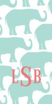 The Well Appointed House Personalized Beach Towel with Blue Elephant Parade Pattern