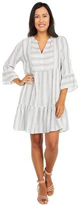 Mod-o-doc Stripe Gauze Mandarin Collar Dress with Ruffle Hem (White) Women's Clothing
