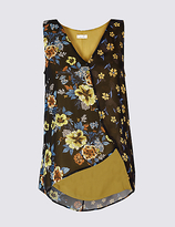 Per Una Floral Print Block V-Neck Vest Top