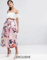 Closet London Satin Midi Skirt in Occasion Print
