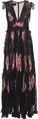 Giambattista Valli Ruffled Floral-print Cotton-blend, Guipure And Chantilly Lace Gown