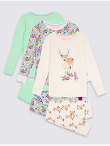 Marks and Spencer 3 Pack Cotton Pyjamas with Stretch (3-16 Years)
