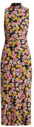 Saloni Gemma Floral-print Silk-chiffon Dress - Womens - Black Multi