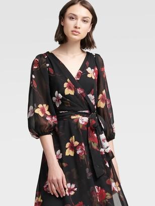 DKNY Bishop Sleeve Floral Wrap Dress
