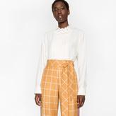 Paul Smith Women's Striped Band-Collar Silk Shirt With Lattice Collar