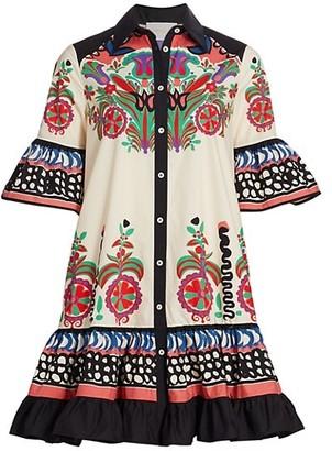 La DoubleJ Edition 23 Choux Floral Print Short Bell-Sleeve Flounce Shirtdress