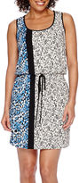 London Times London Style Collection Sleeveless Side-Border Print Blouson Sheath Dress