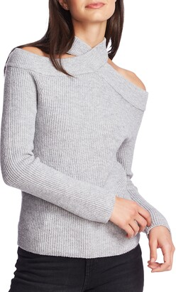 1 STATE Cross Neck Cold Shoulder Cotton Blend Sweater