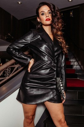 Pretty Darling Black Faux Leather Long Sleeve Pleats Blazer Dress