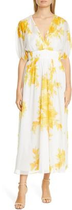 Lela Rose Floral Print Empire Waist Cotton Maxi Dress