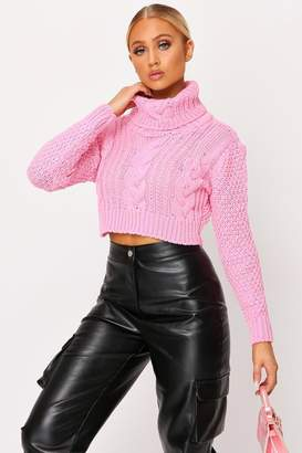 I SAW IT FIRST Pink Chunky Knit Cropped Jumper
