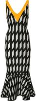David Koma geometric print V-neck dress - women - Nylon/Spandex/Elastane/Rayon - L