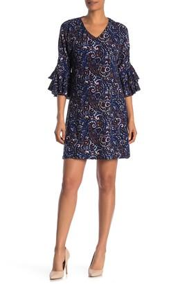 Papillon Paisley Tiered Bell Sleeve Knit Mini Dress