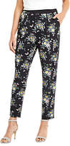 Oasis Marie Printed Soft Trousers, Black
