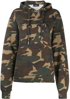 DSQUARED2 Camouflage Print Hooded Sweatshirt