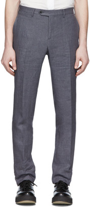 eidos Grey Linen Slim Suit Trousers