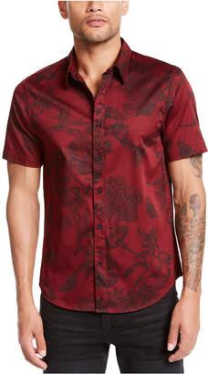 GUESS Men Luxe Baroque Floral Pattern Short Sleeve Shirt