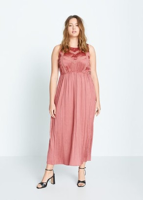 MANGO Violeta BY Pleated long dress coral red - 12 - Plus sizes
