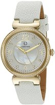 Cabochon Women's 'Saga' Quartz Stainless Steel and White Leather Casual Watch (Model 16561-YG-02-WHS)