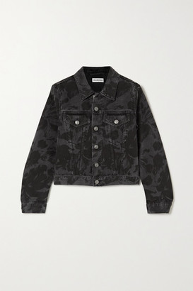 Balenciaga Cropped Floral-print Denim Jacket - Black