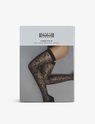 Wolford Florina floral-print stretch-woven hold-ups