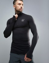 SikSilk Compression Long Sleeve T-Shirt With Quarter Zip In Black