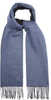 Lanvin Double Faced Brushed Cashmere Tasselled Scarf - Mens - Navy Multi